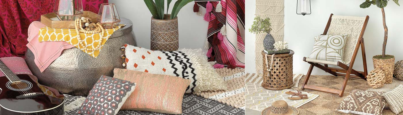room of boho home decor including colorful pillows, a potted platn, glass containers, beads, tapestries, and guitar