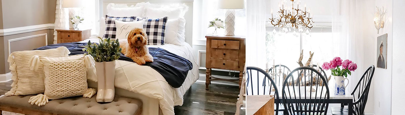 room of modern farmhouse home decor including chunky knit pillows, blue and white bedding, wooden furniture, and a wood and taupe bench